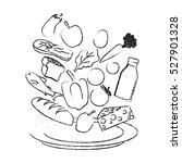milk vegetables fruits and... | Shutterstock .eps vector #527901328