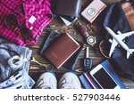 overhead view of traveler... | Shutterstock . vector #527903446