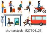 latecomer man running along the ...   Shutterstock .eps vector #527904139