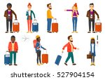 man frightened by future flight ... | Shutterstock .eps vector #527904154