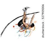 colored hand sketch vaulter.... | Shutterstock .eps vector #527905006