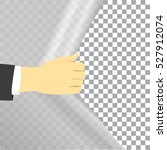 hand opens the curtains with a... | Shutterstock .eps vector #527912074