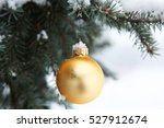 gold christmas tree ball on a... | Shutterstock . vector #527912674