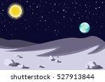 lunar landscape. planet earth... | Shutterstock .eps vector #527913844