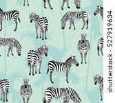 set of zebra blue palm... | Shutterstock .eps vector #527919634