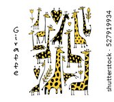 giraffes collection  sketch for ... | Shutterstock .eps vector #527919934
