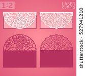 laser cut wedding invitation or ... | Shutterstock .eps vector #527941210