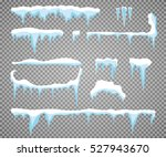 set of snow icicles  snow cap... | Shutterstock .eps vector #527943670