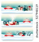 three christmas banners with... | Shutterstock .eps vector #527948119