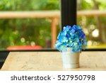 Blue Flowers In A Pot.