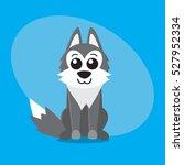 wolf dog cartoon flat cute card ... | Shutterstock .eps vector #527952334