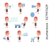 set of smart and cute character ... | Shutterstock .eps vector #527957629
