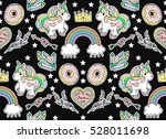 seamless fashion pattern. set... | Shutterstock .eps vector #528011698