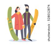 young man with skis and a girl... | Shutterstock .eps vector #528012874