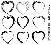 abstract black heart shapes set ... | Shutterstock .eps vector #528049678