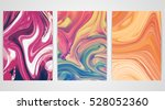 three paintings with marbling.... | Shutterstock .eps vector #528052360