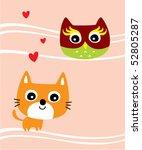 merry kitten love owl   Shutterstock .eps vector #52805287