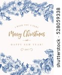 christmas card with flowers... | Shutterstock .eps vector #528059338