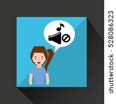 smiling girl music no volume... | Shutterstock .eps vector #528086323