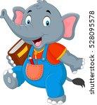 cartoon funny elephant carrying ... | Shutterstock .eps vector #528095578