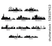 silhouette of city skyline... | Shutterstock .eps vector #528107413