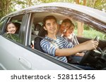 happy asian family on mini van... | Shutterstock . vector #528115456