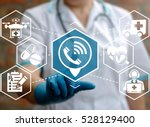 Medical health care call help support concept. Doctor presses location handset icon on virtual medicine modern future screen on background of network healthcare emergency ambulance treatment sign