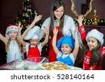 kids baking christmas cookies... | Shutterstock . vector #528140164