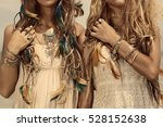 close up image of two hippie... | Shutterstock . vector #528152638
