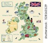 cartoon map of united kingdom....   Shutterstock .eps vector #528163129