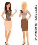 elegant young women in smart... | Shutterstock .eps vector #528163369