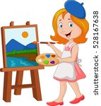 little girl painting on a canvas | Shutterstock .eps vector #528167638