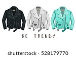 leather jacket. be trendy. | Shutterstock .eps vector #528179770