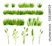 watercolor green grass set on... | Shutterstock . vector #528188929