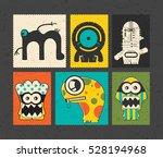 set of six retro postage s... | Shutterstock .eps vector #528194968