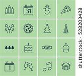 set of 16 new year icons. can... | Shutterstock .eps vector #528203428