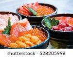 Salmon And Ikura Don  Close Up  ...
