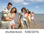 group of young friends walking... | Shutterstock . vector #52821076