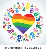 colorful hand prints and... | Shutterstock .eps vector #528215518