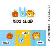 kids club logo with animals.... | Shutterstock .eps vector #528221734