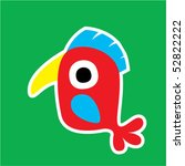 cute bird sticker | Shutterstock .eps vector #52822222