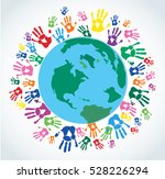 colorful hand prints around the ... | Shutterstock .eps vector #528226294