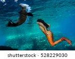 black hair mermaid swimming... | Shutterstock . vector #528229030