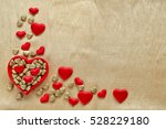 red   gold hearts on golden... | Shutterstock . vector #528229180