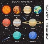 planets vector set on dark... | Shutterstock .eps vector #528259948