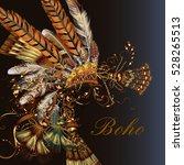 bo ho fashion head dress with... | Shutterstock .eps vector #528265513