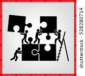 puzzle and people icon vector... | Shutterstock .eps vector #528280714