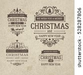 set of retro vintage christmas... | Shutterstock .eps vector #528287806