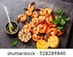prawns shrimps roasted and... | Shutterstock . vector #528289840