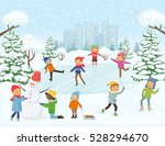 cute children are skating ... | Shutterstock .eps vector #528294670